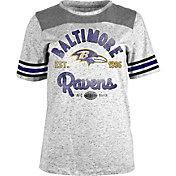 New Era Women's Baltimore Ravens Peppercorn Throwback Grey T-Shirt