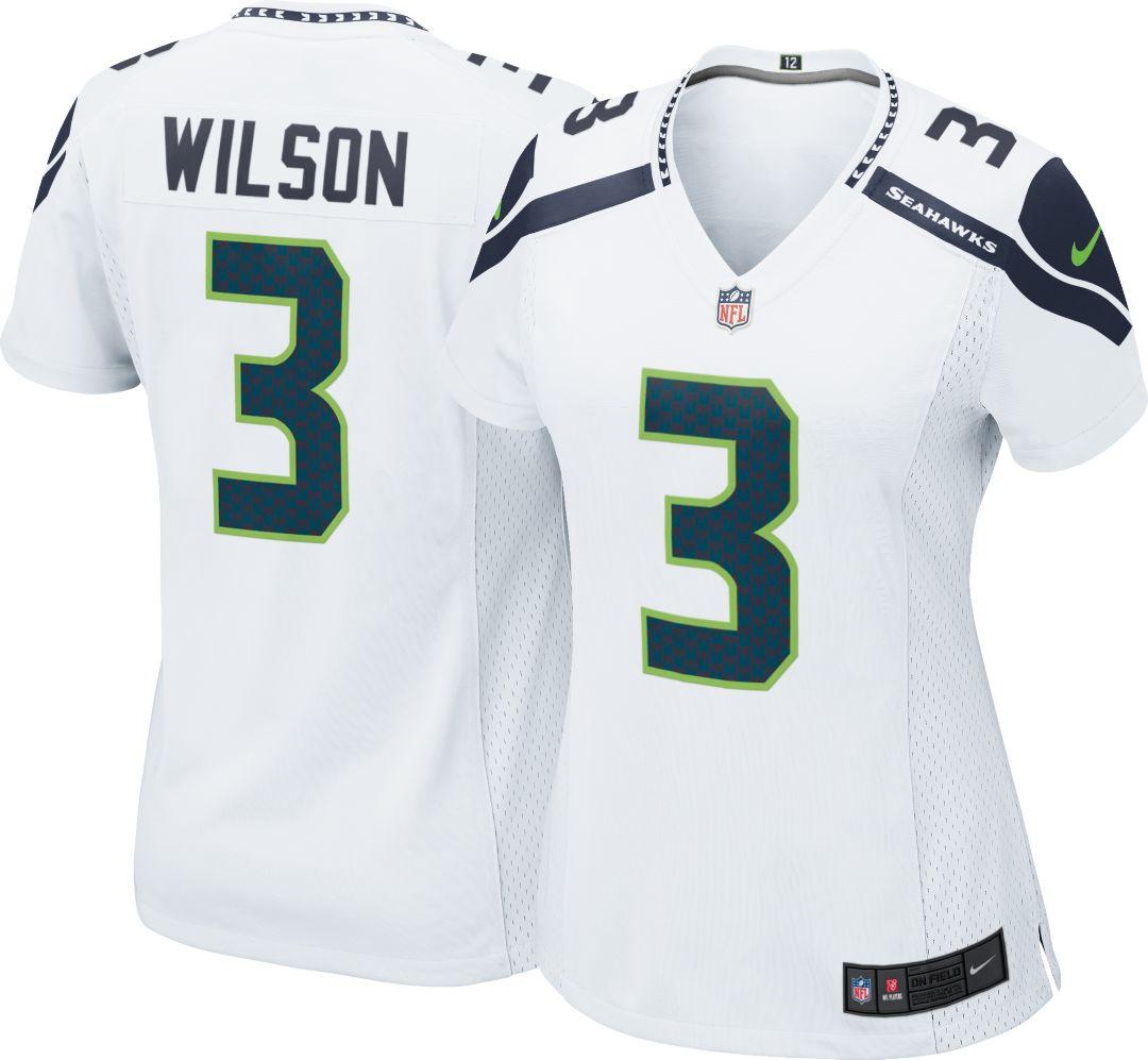 3586faf7 Nike Women's Away Game Jersey Seattle Seahawks Russell Wilson #3