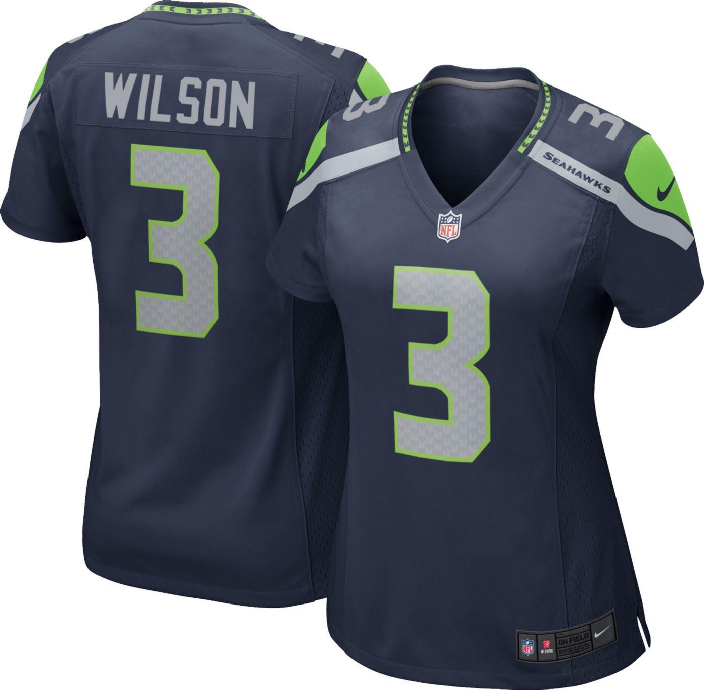 Nike Women's Home Game Jersey Seattle Seahawks Russell Wilson #3