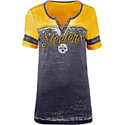 New Era Women's Pittsburgh Steelers Burnout Black T-Shirt