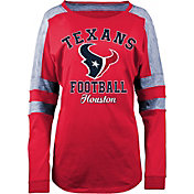 New Era Women's Houston Texans Boyfriend Red Long Sleeve Shirt