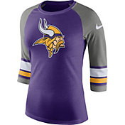 4e6c16a5c Product Image · Nike Women s Minnesota Vikings Stripe Tri-Blend Purple  Raglan T-Shirt