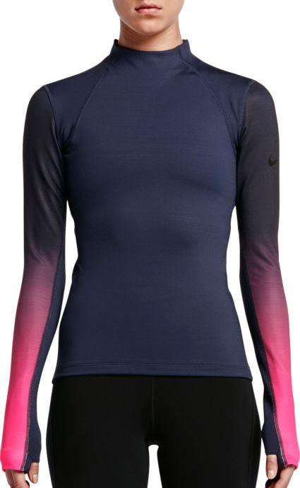 hot sale online 0ad8c afa43 Nike Womens Pro Hyperwarm Fade Printed Long Sleeve Shirt. noImageFound