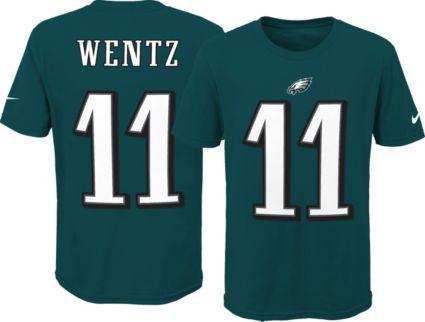 f7fec5ac8d2 Nike Youth Philadelphia Eagles Carson Wentz #11 Green T-Shirt ...