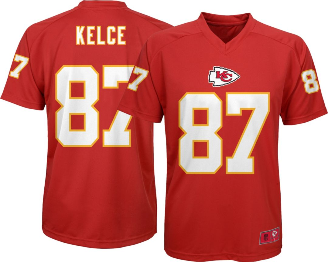 c910d716 NFL Team Apparel Youth Kansas City Chiefs Travis Kelce #87 Performance Red  T-Shirt