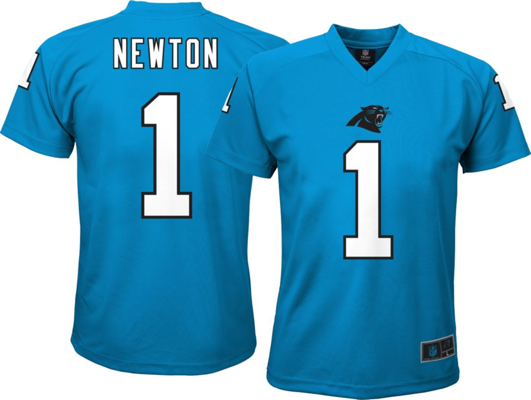 23f4b24ab21 NFL Team Apparel Youth Carolina Panthers Cam Newton #1 Performance T-Shirt 1