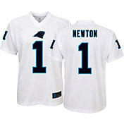 NFL Team Apparel Youth Carolina Panthers Cam Newton #1 Performance White T-Shirt