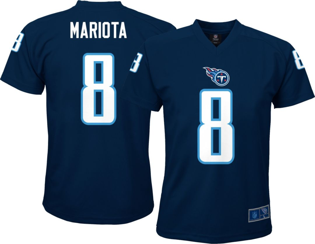 the latest 417e0 dd3ae NFL Team Apparel Youth Tennessee Titans Marcus Mariota #8 Navy T-Shirt