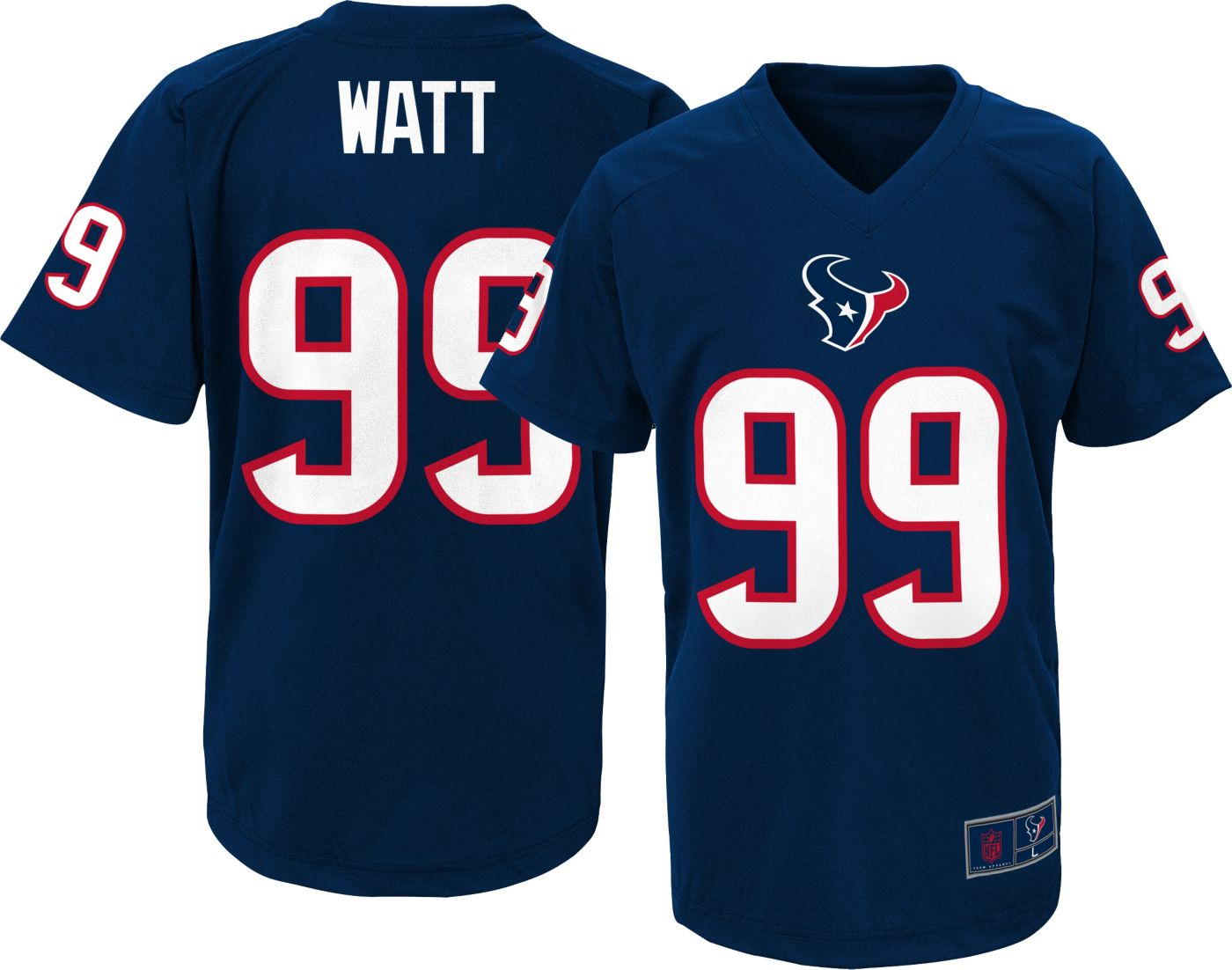 NFL Team Apparel Youth Houston Texans J.J. Watt #99 Navy T-Shirt