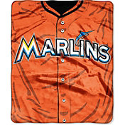 Northwest Miami Marlins Jersey Raschel Throw Blanket