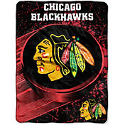 Northwest Chicago Blackhawks Puck Micro Raschel Sherpa 45 in x 60 in Throw Blanket