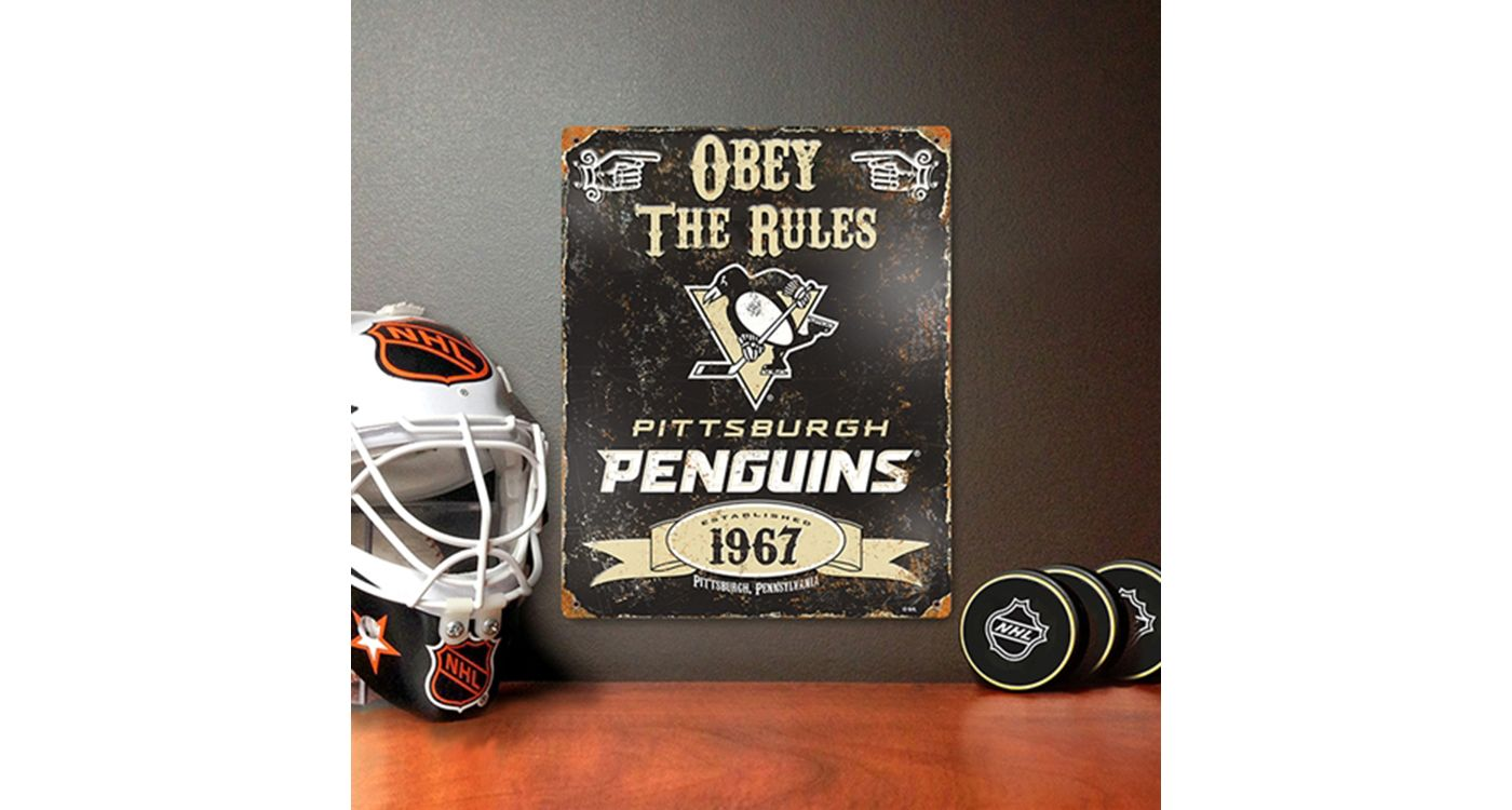 Party Animal Pittsburgh Penguins Embossed Metal Sign
