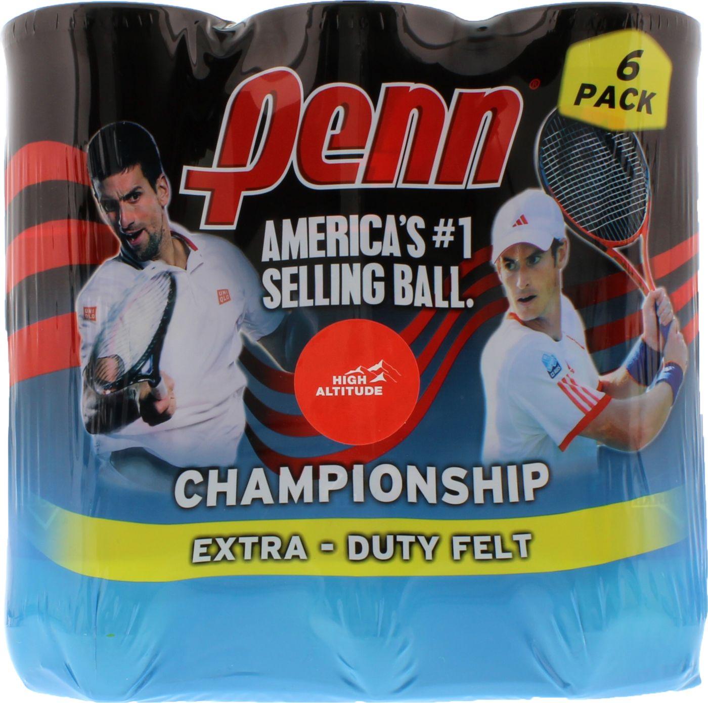Penn Championship High Altitude Tennis Balls - 6 Can Pack