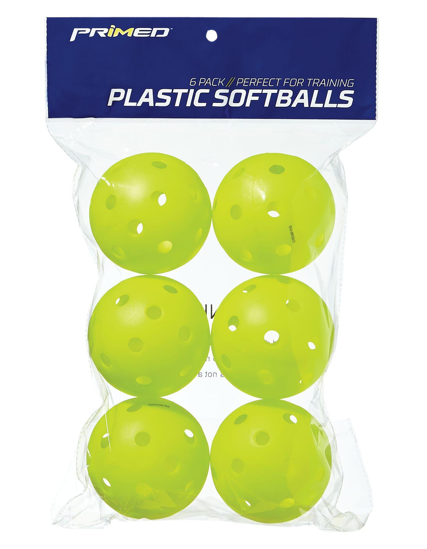 "PRIMED 12"" Plastic Yellow Training Softballs - 6 Pack"