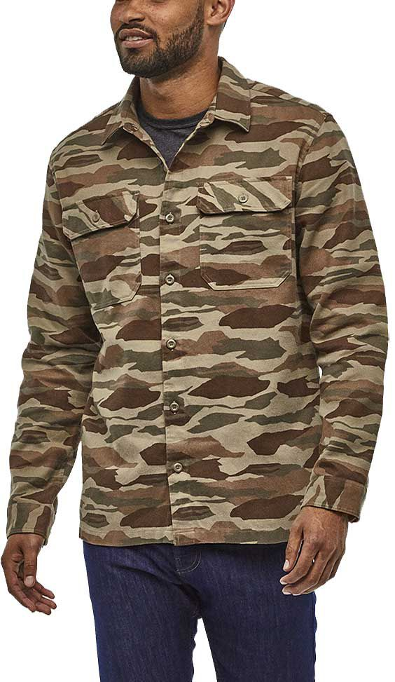 Patagonia Men's Fjord Flannel Button Up Long Sleeve Shirt, Size: Small, Bear Witness Camo