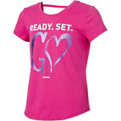 Reebok Girls' Cotton Ready Set Go Graphic Strap Back T-Shirt