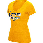 Reebok Women's Nashville Predators 'Let's Go Preds' Gold T-Shirt