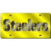 Auto Accessories Rico NFL Pittsburgh Steelers Logo Wordmark Metal Tag License Plate Yellow Fan Shop