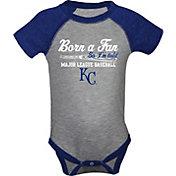 "Soft As A Grape Infant Kansas City Royals ""Born A Fan"" Grey/Royal Onesie"