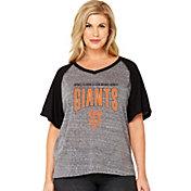 Soft As A Grape Women's San Francisco Giants Tri-Blend Raglan Half-Sleeve Shirt - Plus Size