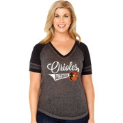 Soft As A Grape Women's Baltimore Orioles V-Neck Shirt - Plus Size