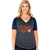 Soft As A Grape Women's Detroit Tigers V-Neck Shirt - Plus Size