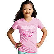 Soft As A Grape Youth Girls' Washington Nationals Pink V-Neck Shirt