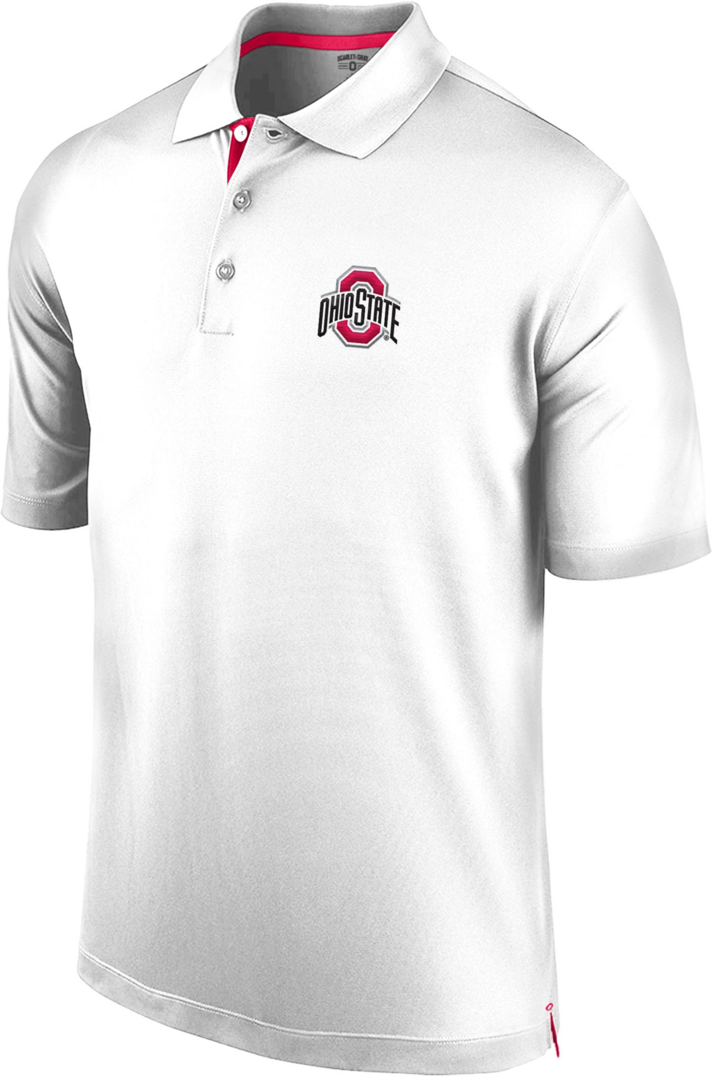 Scarlet & Gray Men's Ohio State Buckeyes White Spector Polo