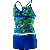 Speedo Girls' Tie Dye Blaze Boyshort 2-Piece Swimsuit