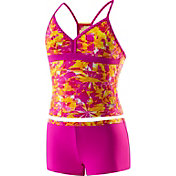 Speedo Girls' Tie Dye Blaze Boyshort 2-Piece Swimsuit