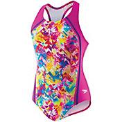 Speedo Girls' Tie Dye Splash Sport Splice Racerback Swimsuit