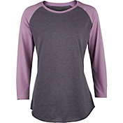 Soffe Women's Heathered Baseball Three Quarter Length Sleeve Shirt