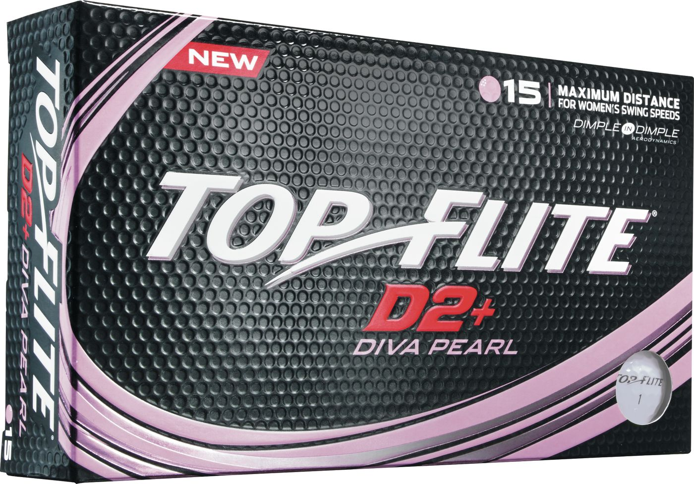 Top Flite Women's D2+ Diva Pearlescent Golf Balls – 15 Pack