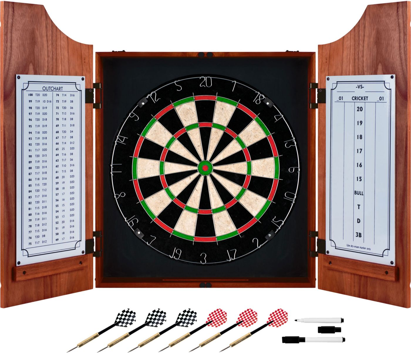 Trademark Games Beveled Wood Dart Cabinet Set