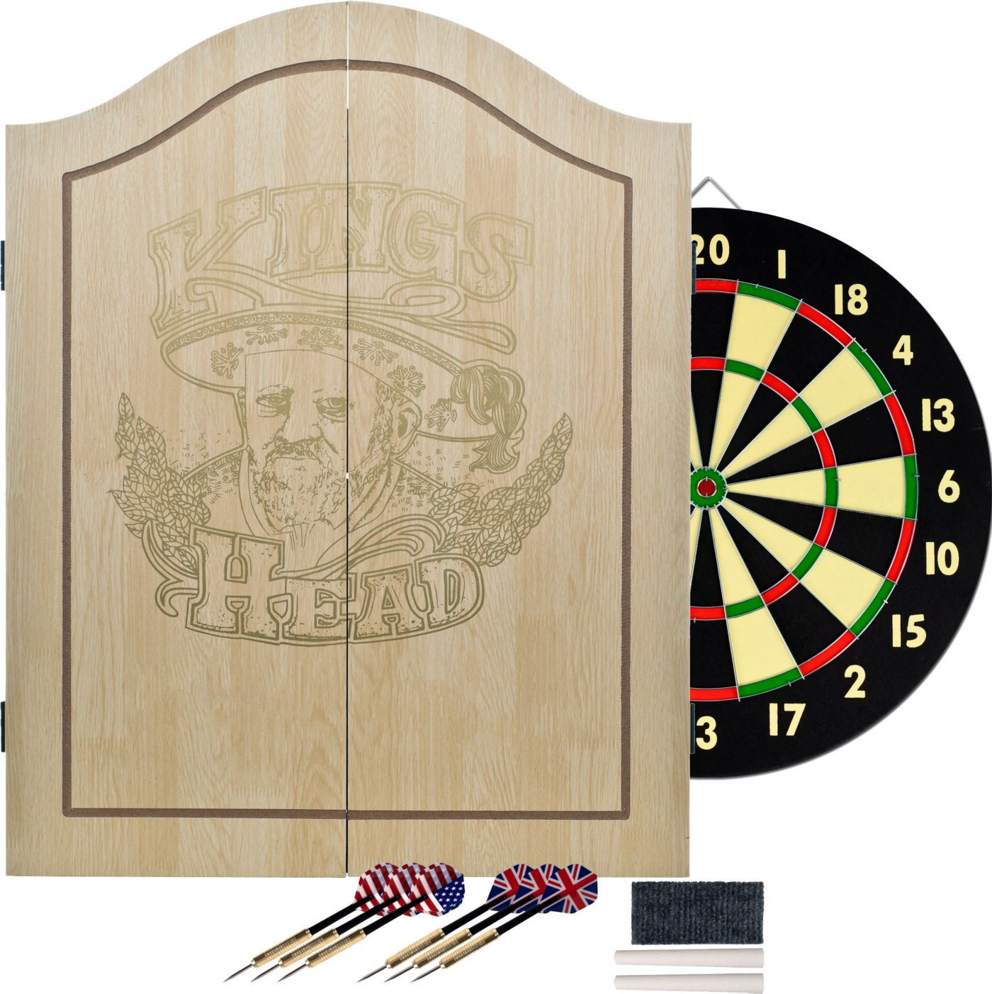 Trademark Games King's Head Dartboard Cabinet Set