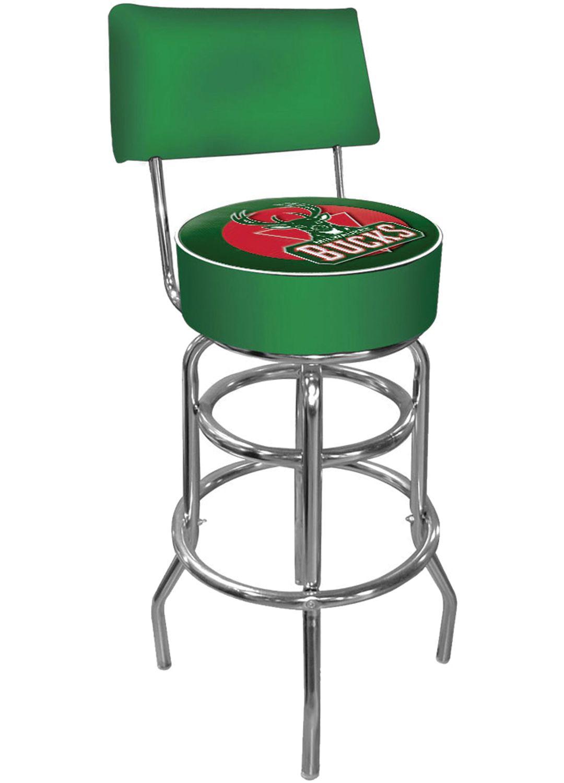 best cheap 1e80d ecddb Trademark Games Milwaukee Bucks Padded Swivel Bar Stool with Back
