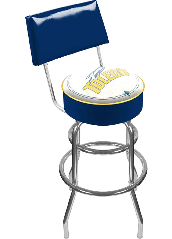 Phenomenal Trademark Games Toledo Rockets Padded Swivel Bar Stool With Back Short Links Chair Design For Home Short Linksinfo
