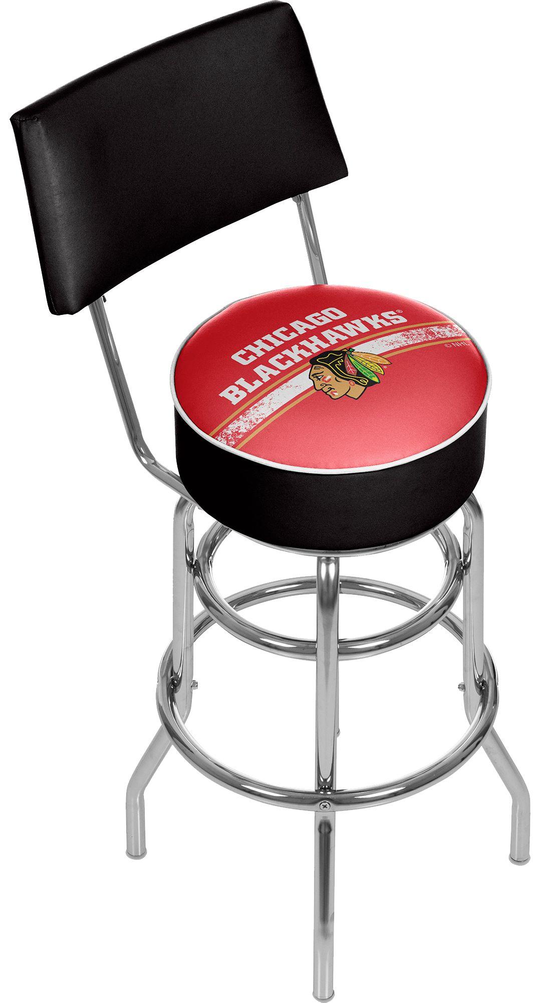Brilliant Trademark Games Chicago Blackhawks Padded Swivel Bar Stool With Back Dailytribune Chair Design For Home Dailytribuneorg