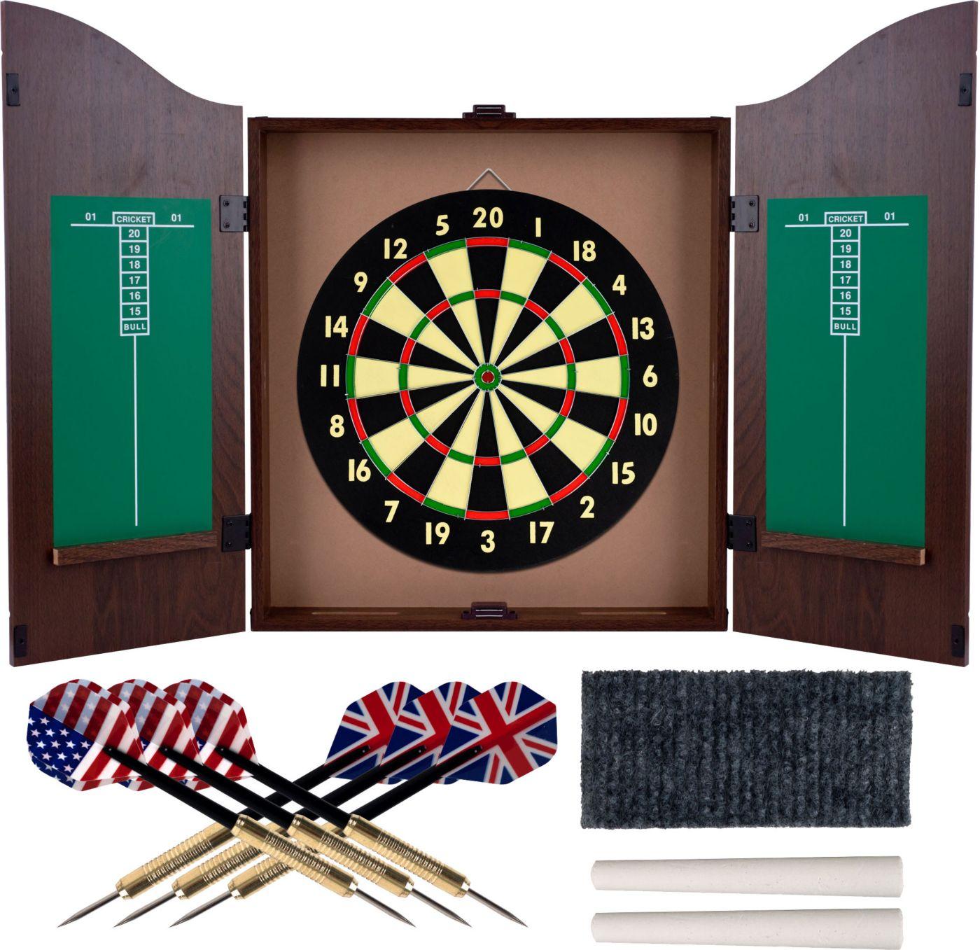 Trademark Games Walnut Dartboard Cabinet Set