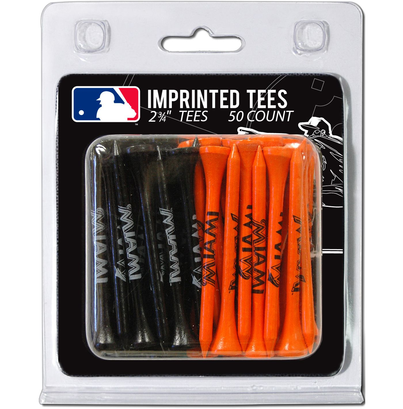 Team Golf Miami Marlins 2.75'' Golf Tees - 50 Pack