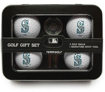 Team Golf Seattle Mariners 4-Ball Tin Gift Set