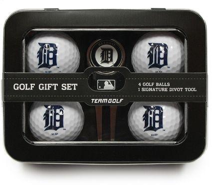 Team Golf Detroit Tigers 4-Ball Tin Gift Set