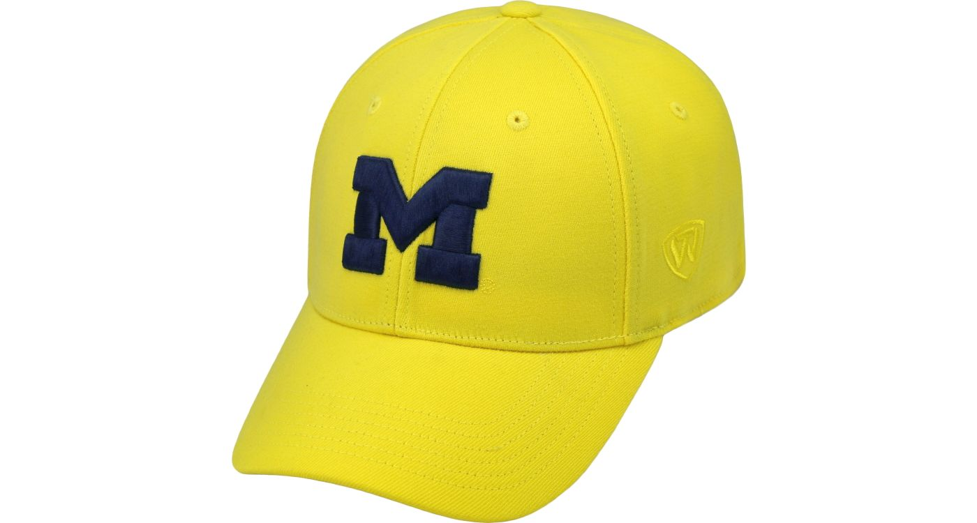 Top of the World Men's Michigan Wolverines Maize Premium Collection M-Fit Hat