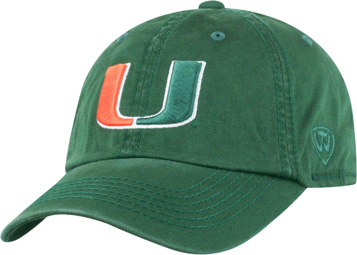 Top of the World Men's Miami Hurricanes Green Crew Adjustable Hat