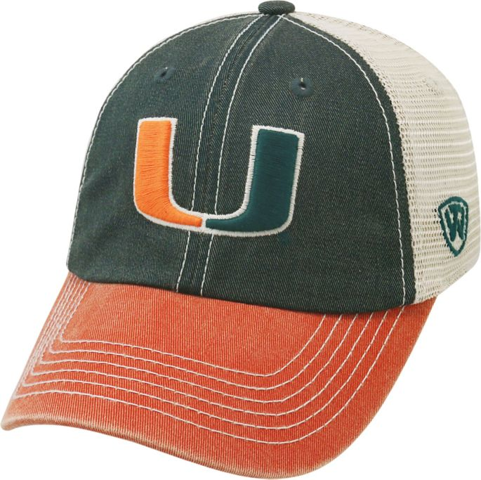 c2ed6aa75427 Top of the World Men's Miami Hurricanes Green/White/Orange Off Road  Adjustable Hat