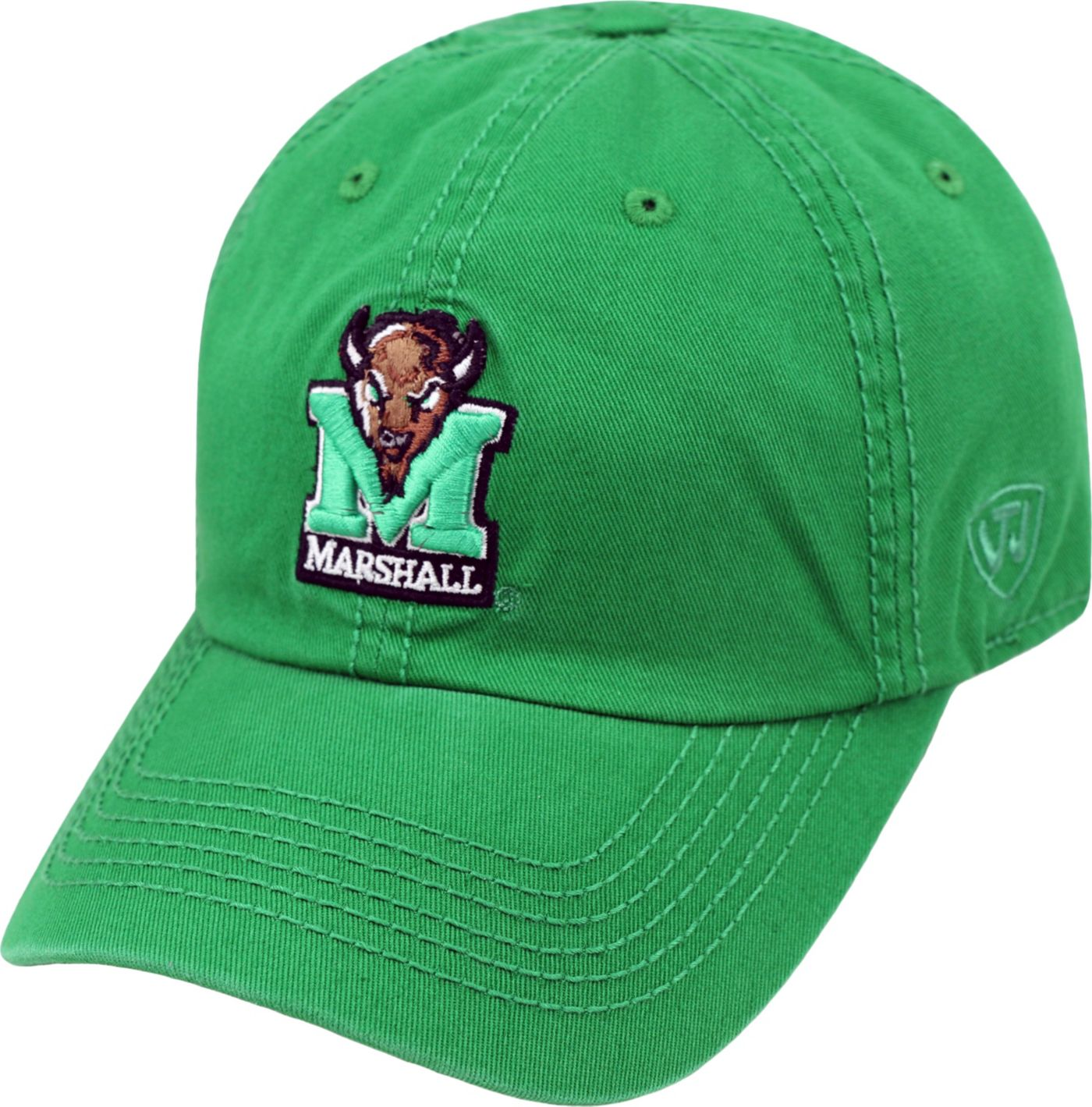Top of the World Men's Marshall Thundering Herd Green Crew Adjustable Hat