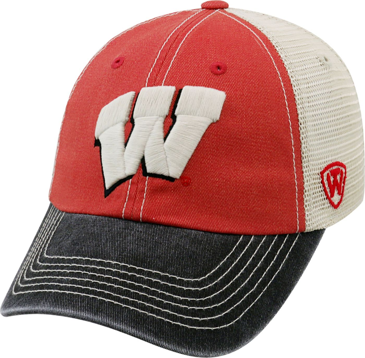 Top of the World Men's Wisconsin Badgers Red/White/Black Off Road Adjustable Hat