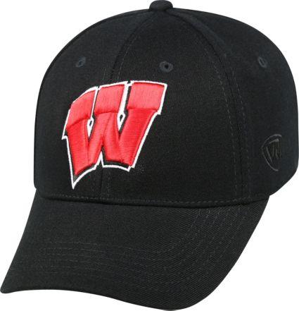 big sale d0d8f 7ad8b Top of the World Men s Wisconsin Badgers Black Premium Collection M-Fit Hat