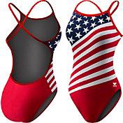 TYR Women's American Flag Crosscutfit Back Swimsuit