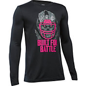 Under Armour Boys' Power In Pink Built For Battle Football Long Sleeve Shirt